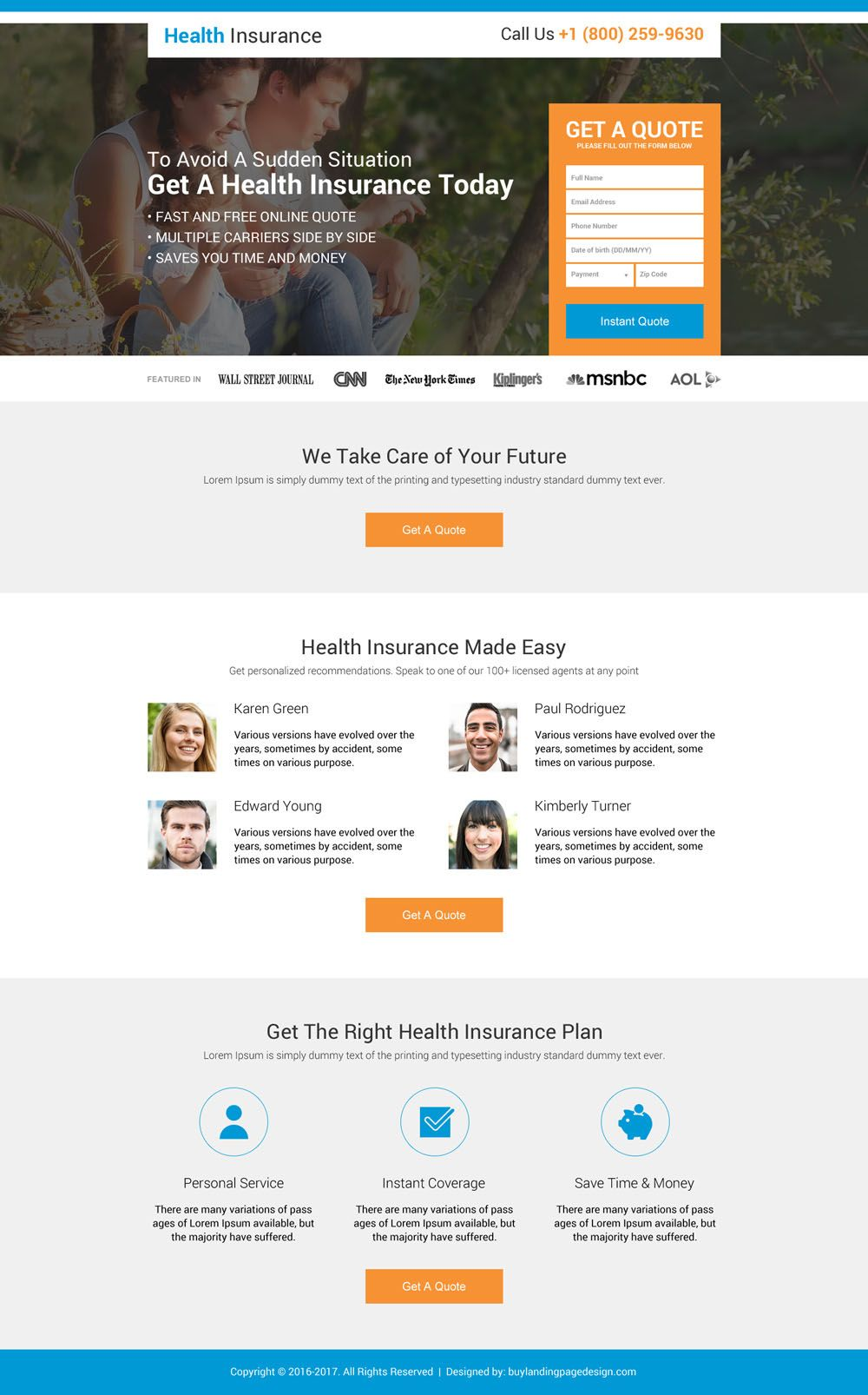 Free Health Insurance Quotes Health Insurance Instant Coverage Landing Page Design  Health
