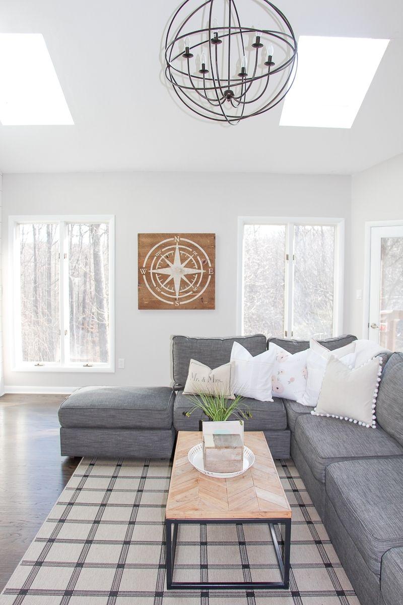 Modern Farmhouse Living Room Renovation   Pinterest   Orb chandelier ...