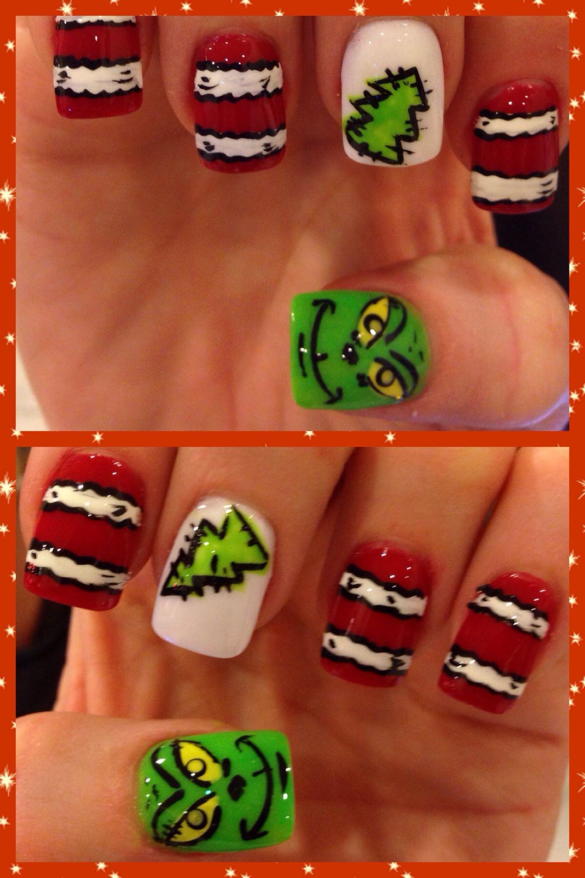 The grinch | Christmas nail designs, Cute acrylic nails ...
