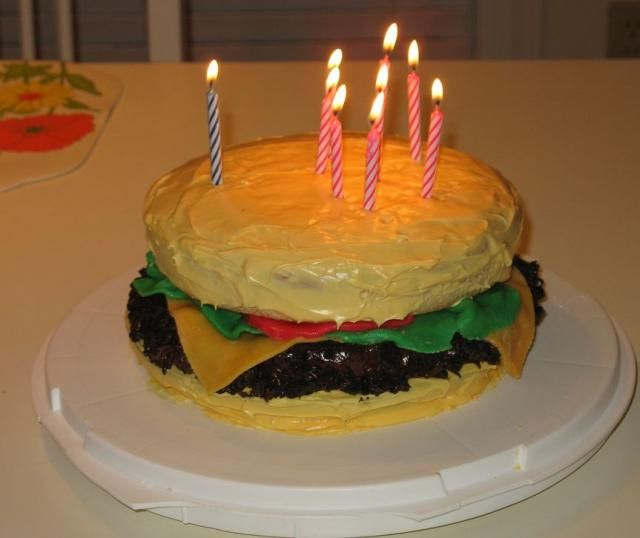 Amazing Cheeseburger Birthday Cake With Candles With Images Homemade Funny Birthday Cards Online Inifofree Goldxyz
