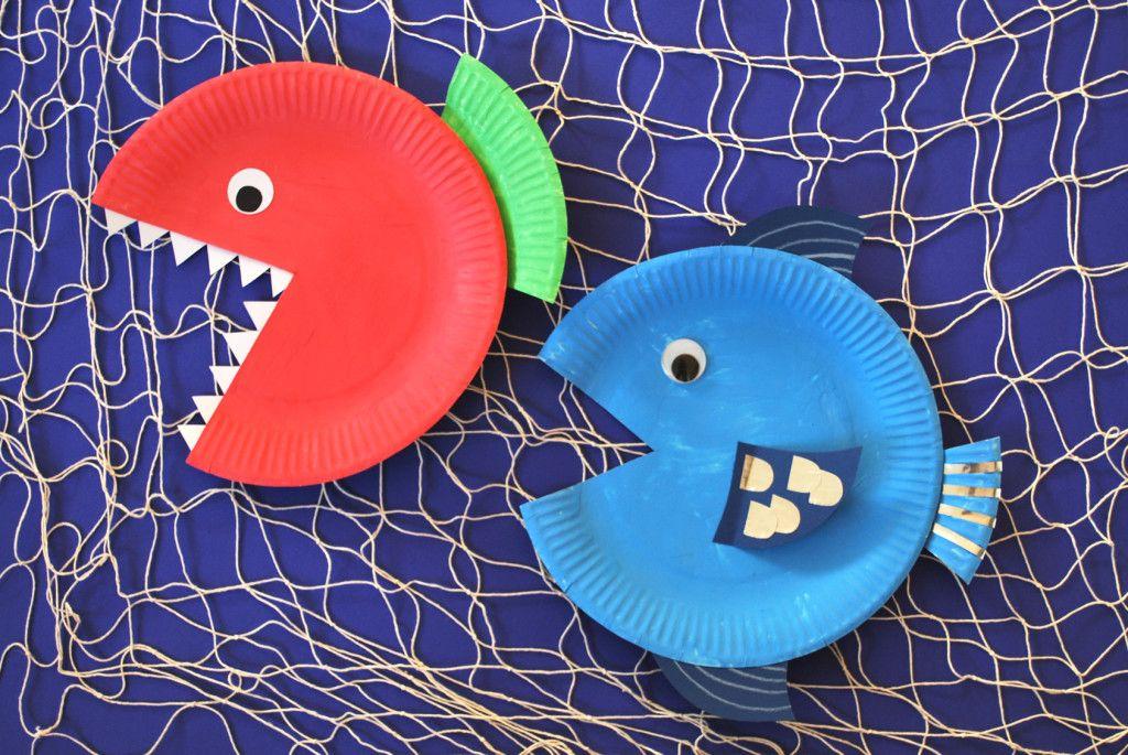 Pappteller Fische Fische Basteln Pappteller Fisch Und