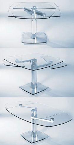 tavolo da pranzo allungabile base centrale in cristallo piano in cristallo allunghe a vista