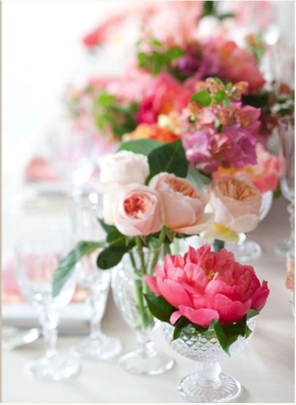 round table wedding centrepieces peonies pink - Google Search
