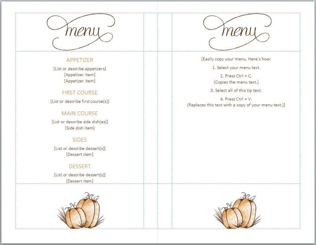 Free thanksgiving menu template full serive menu for Menue templates