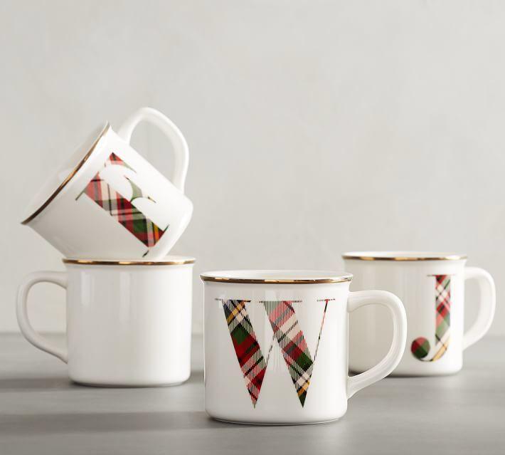 Christmas Plaid Initial Mug Alphabet Mugs Mugs Pottery