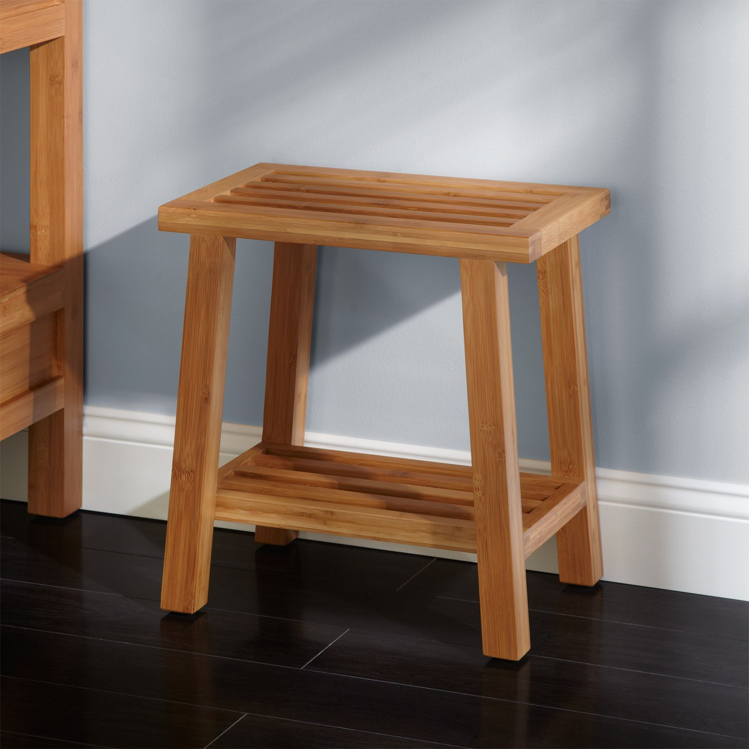 Freestanding Bamboo Slotted Bathroom Stool | Bathroom Makeovers on a ...