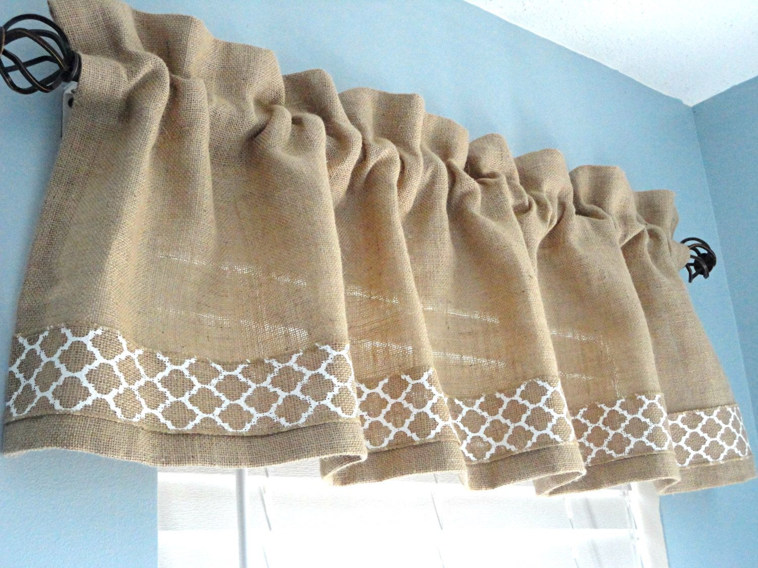 Burlap Valance Window Valance Housewares Window Treatment Kitchen Valance  Rod Pocket Home Decor Curtains Draperies Custom Valance