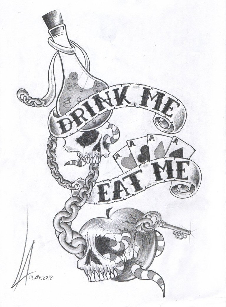 A Dark Version Of Drink Eat Me Illustration Of Alice In