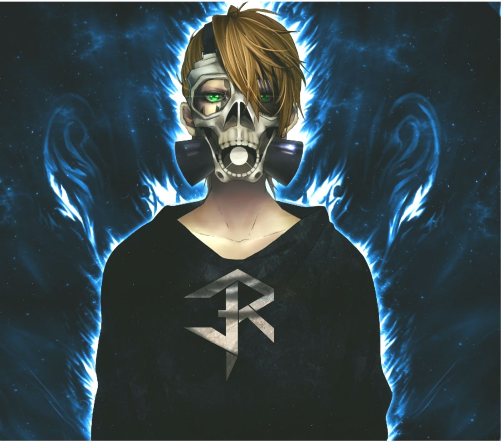 male anime character wallpaper gas masks anime skull