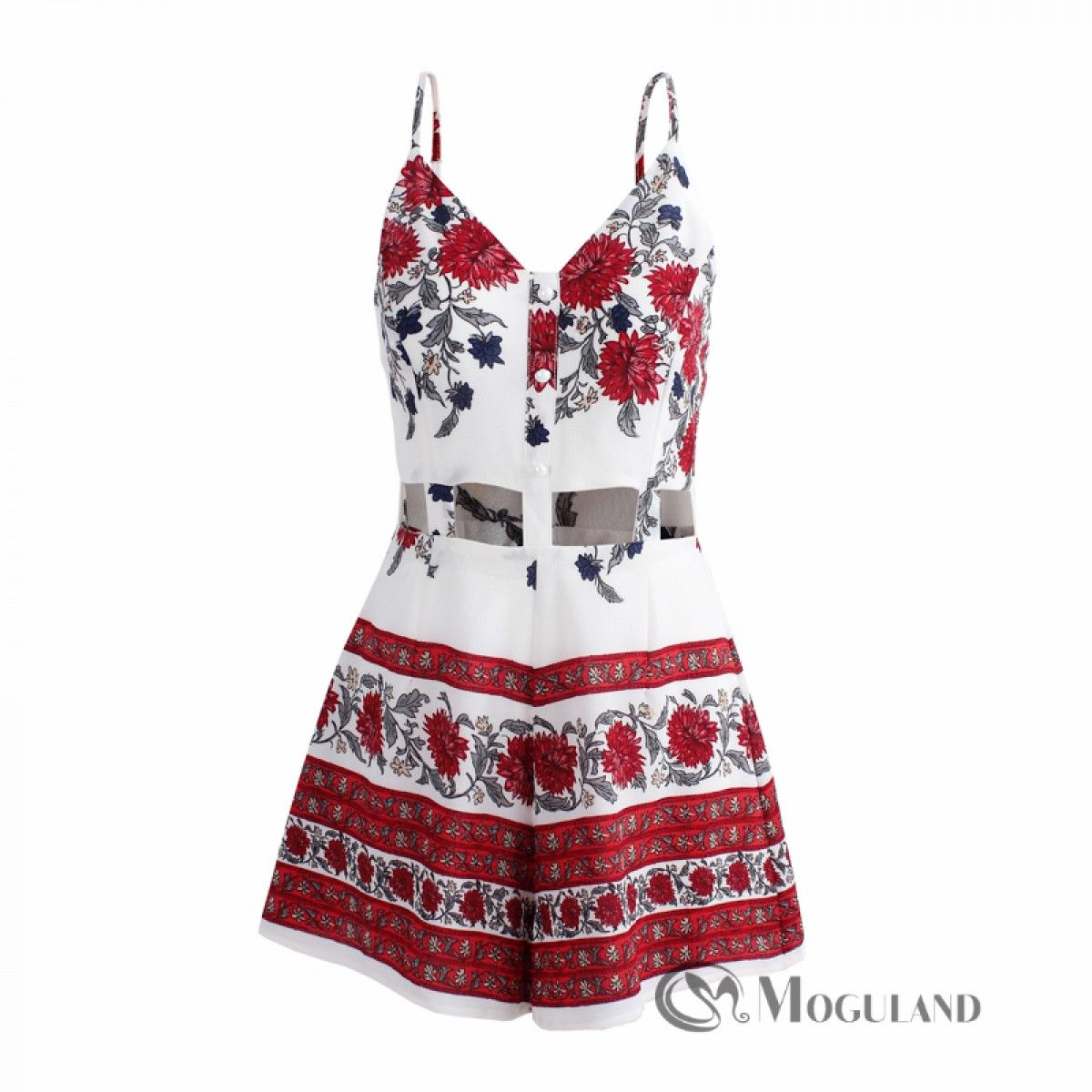dbce543f7668 Ladies red and white floral print cut out playsuit for wholesale - playsuits
