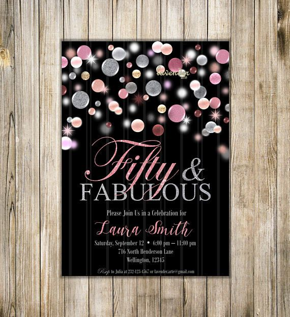FIFTY and FABULOUS BIRTHDAY invitation 50th Birthday Invite Silver