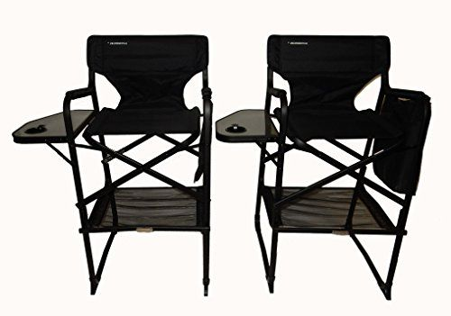 World Outdoor Products Two Pack Professional Edition Tall Folding Directors Chair Side Table Cup Holder Automatic F Directors Chair Chair Outdoor Chairs