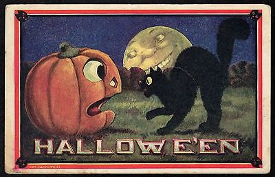 HALLOWEEN Man In The Moon BLACK CAT Jack O' Lantern ULLMAN Washington DC 1911 (11/17/2014)