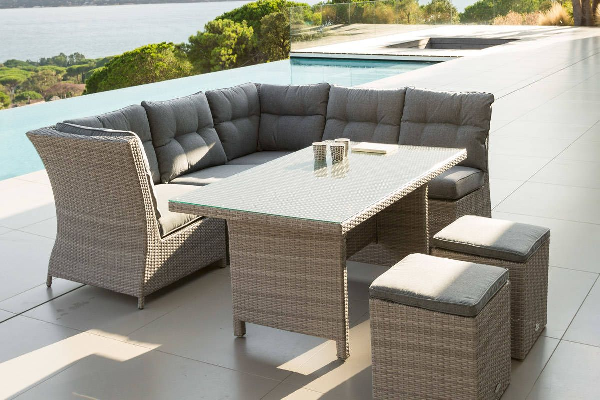 Salon cuba angle de jardin gr ge 7 places aluminium - Mobilier jardin hesperide ...