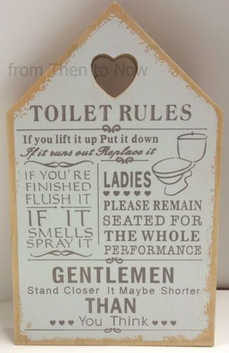 Toilet Rules Wooden Sign Plaque Chic, Bathroom Rules Plaque