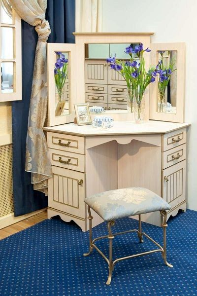 Luxury Corner Small Dressing Table Designs With Angular Mirror For Classic  Bedrooms