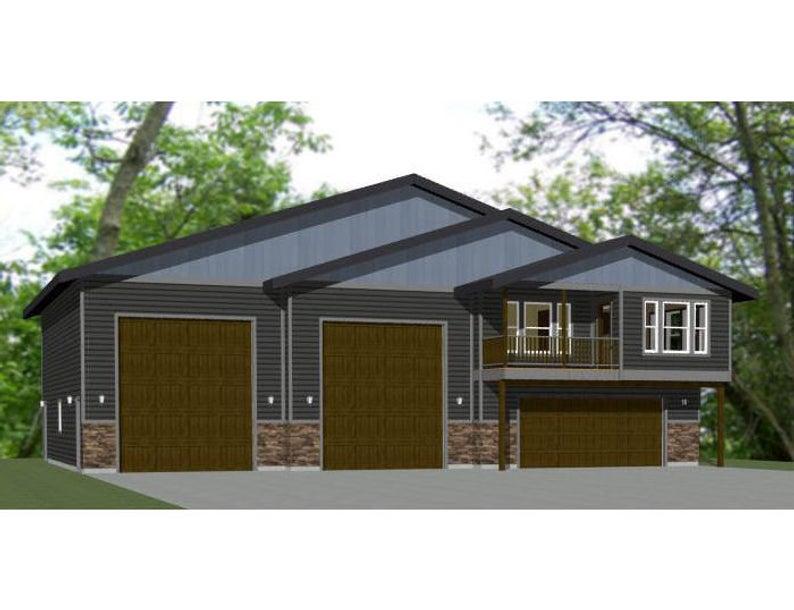 60x50 House 2 Bedroom 2 5 Bath 1 694 Sq Ft Pdf Floor Plan Instant Download Model 1a Building Plans House Garage Apartment Plans Garage House Plans