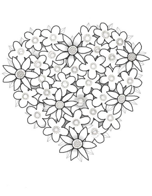 Valentine Flowers Heart Coloring Page
