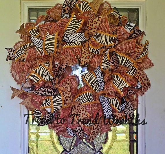 Animal Wreath Animal Ribbon Wreath Zoo by TrendtoTrendWreaths