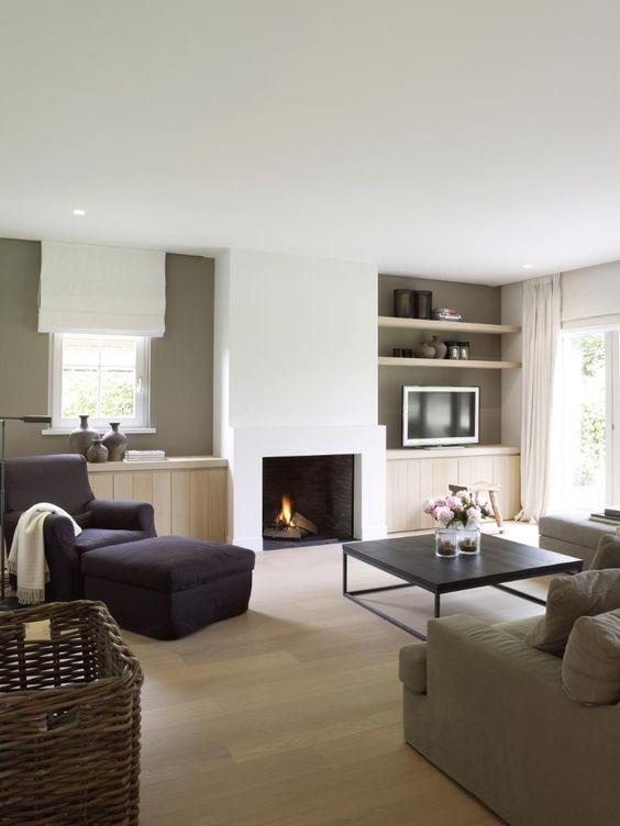 Een schouw in het interieur het middelpunt huiskamer pinterest interieur - Moderne stijl lounge ...
