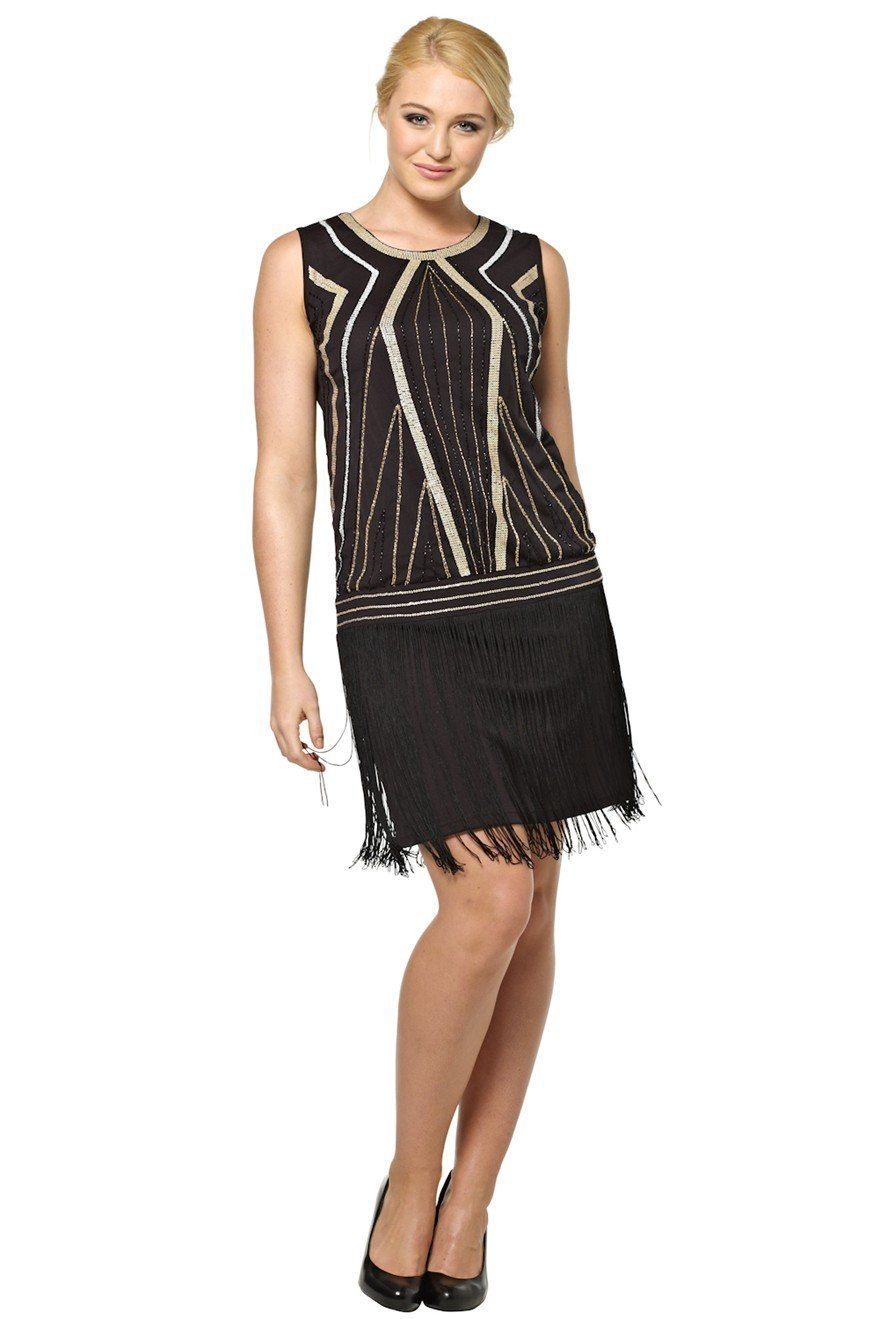 e6f0c3b7 Roman Originals - Womens Dresses Gatsby Flapper Style Shift Dress 1920's  Beading - Evening Going Out