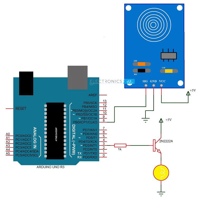 Touch Dimmer Switch Circuit Using Arduino Arduino Arduino Circuit Arduino Robot