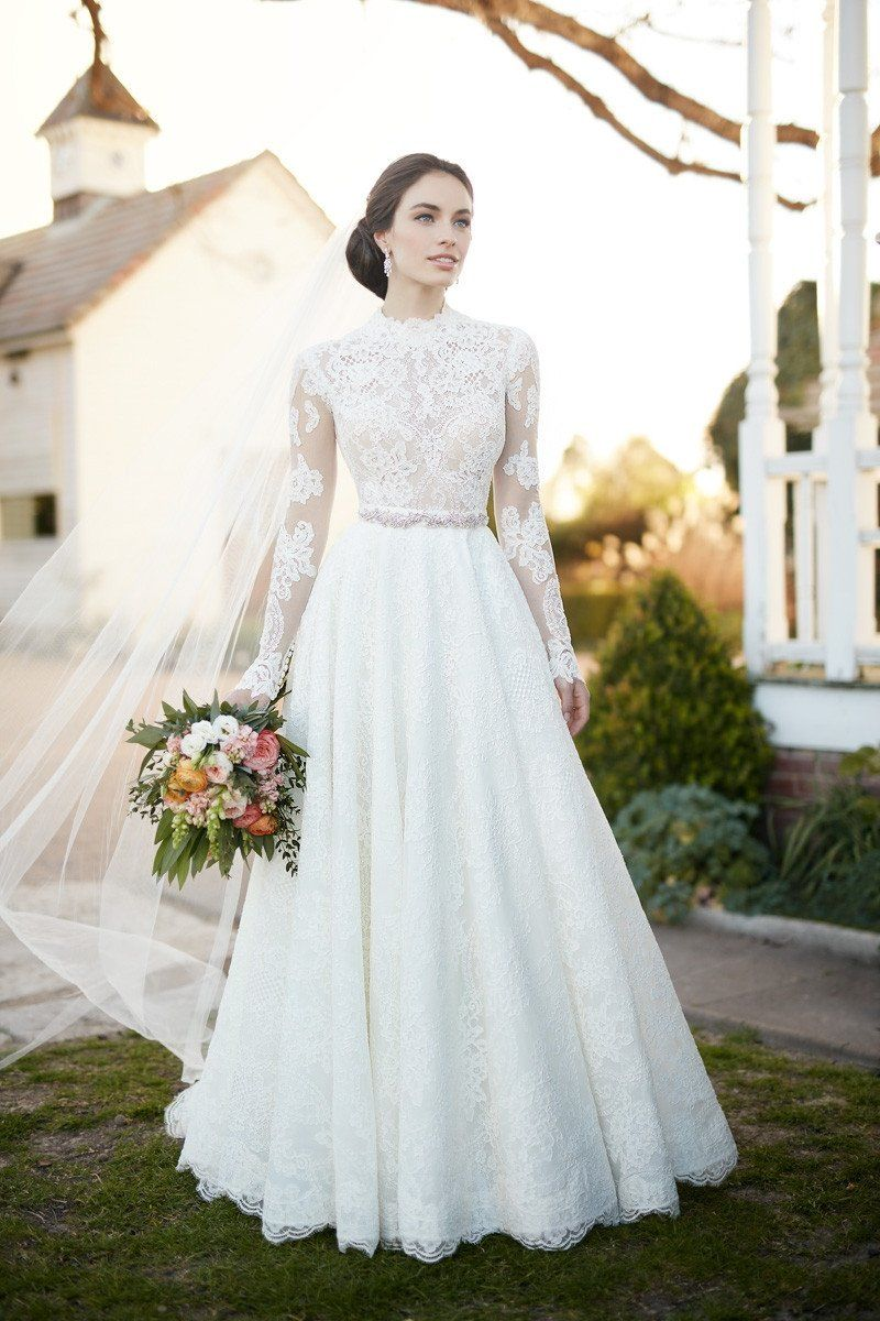 Longsleeve wedding dress with illusion lace sleeves and an aline