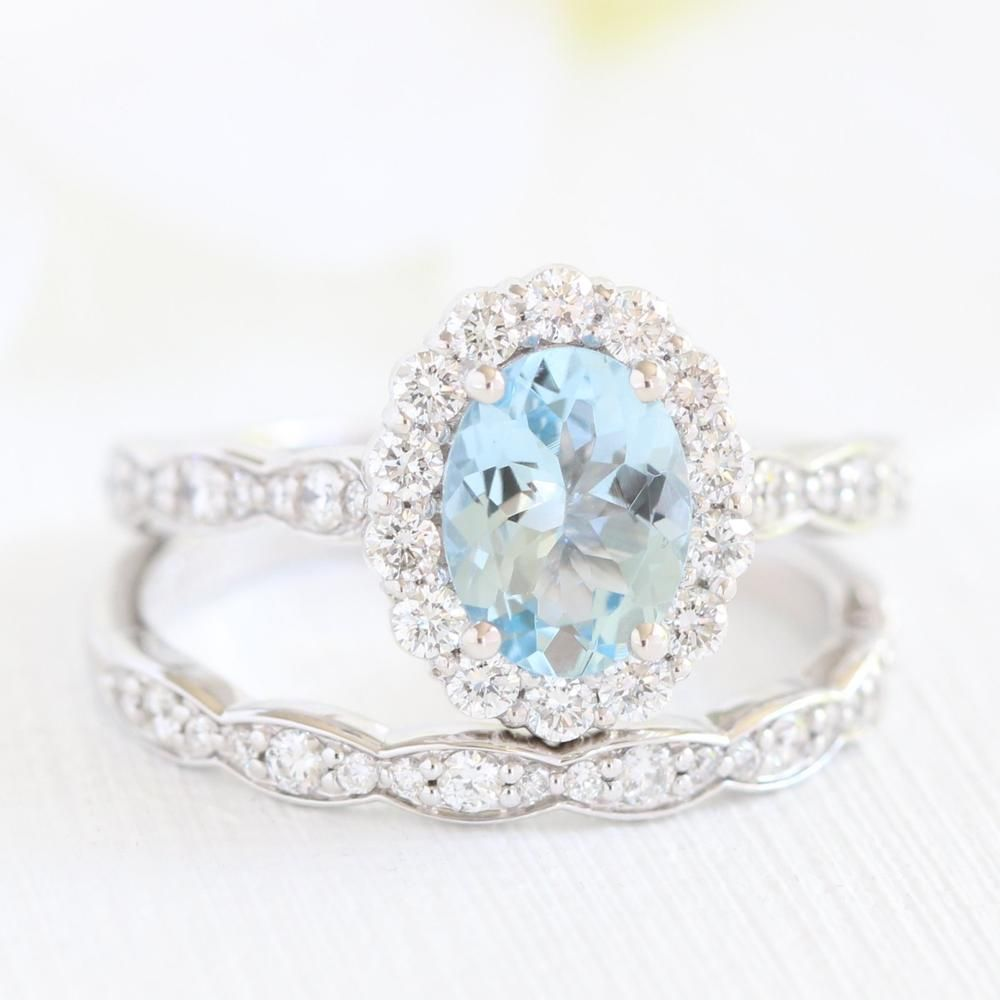 Vintage Style Bridal Set Featuring An Oval Aquamarine Engagement Ring In Rose Gold H In 2020 Gold Diamond Wedding Band Diamond Wedding Bands Aquamarine Engagement Ring