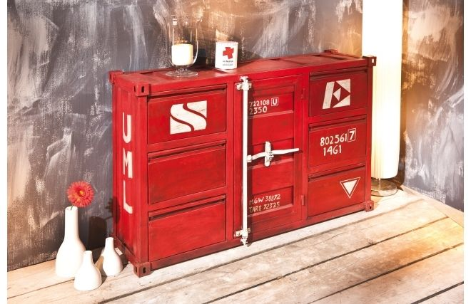 commode industrielle m tal rouge cargo prix promo miliboo 699 00 ttc miliboo pinterest. Black Bedroom Furniture Sets. Home Design Ideas
