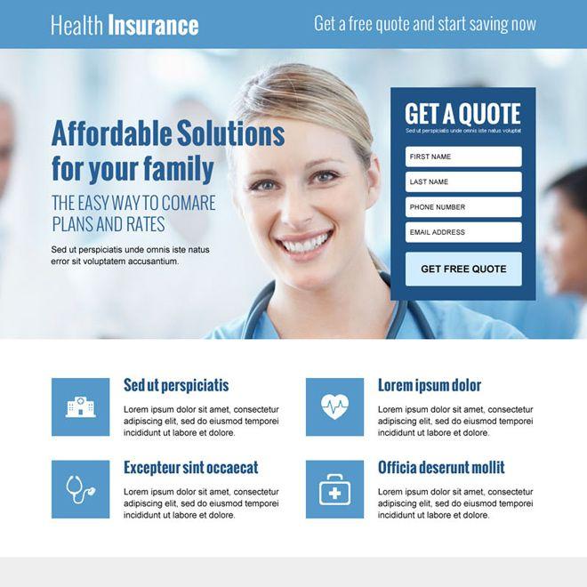 Best Health Insurance Lead Gen Responsive Landing Page Design
