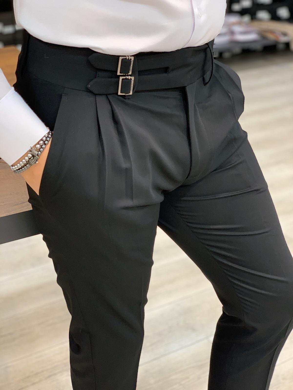 Aysoti Black Pleated Slim Fit Canvas Pants Mens Pants Fashion Black Pants Men Pants Outfit Men [ 1600 x 1200 Pixel ]