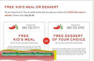 free printable chilis coupons