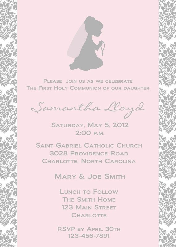 First Holy Communion Invitation Religious Invitation Holy