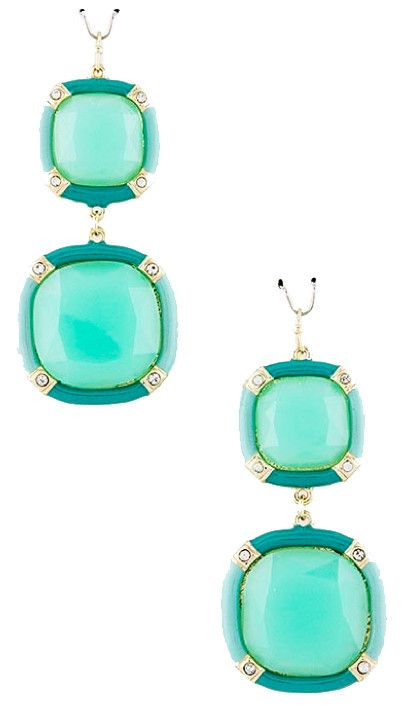 Mint & Turquoise Square Drop Earrings - My Jewel Candy