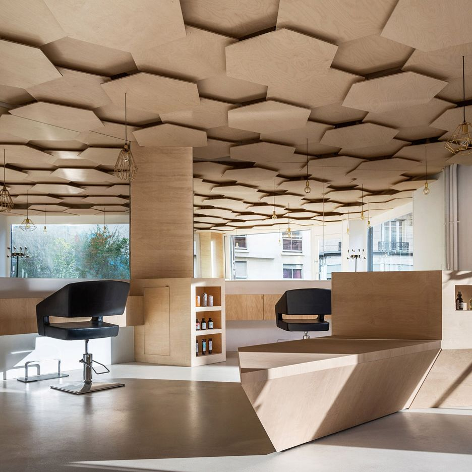 Joshua florquin adds hexagonal patterned ceiling to paris for Salon design paris