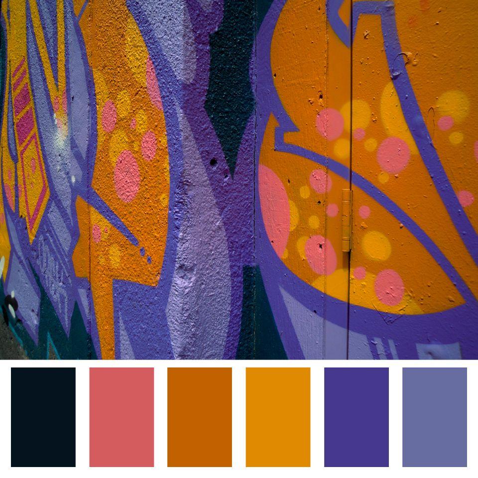 Purple Orange Colour Palette Graffiti Palette Purple Color Palettes Color Studies Vibrant Colors