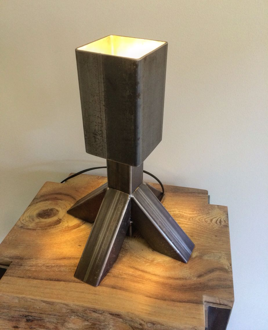 Handmade industrial table lamp made of iron - own design