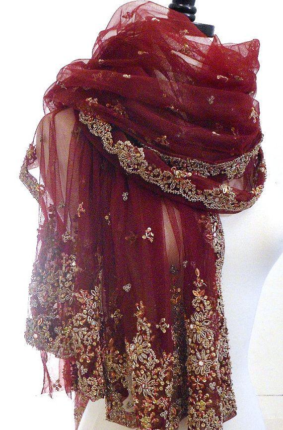 Maroon Scarf Beaded Embroidered Silk Sari Wedding Shawl Chiffon Sheer Fancy Boho