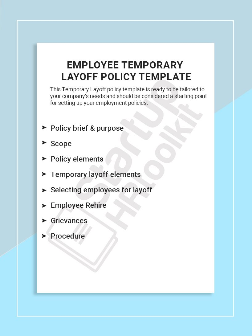 This Temporary Layoff Policy Template Is Ready To Be Tailored To