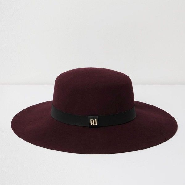 3f85213b46b River Island Dark red wide brim fedora hat ( 50) ❤ liked on Polyvore  featuring