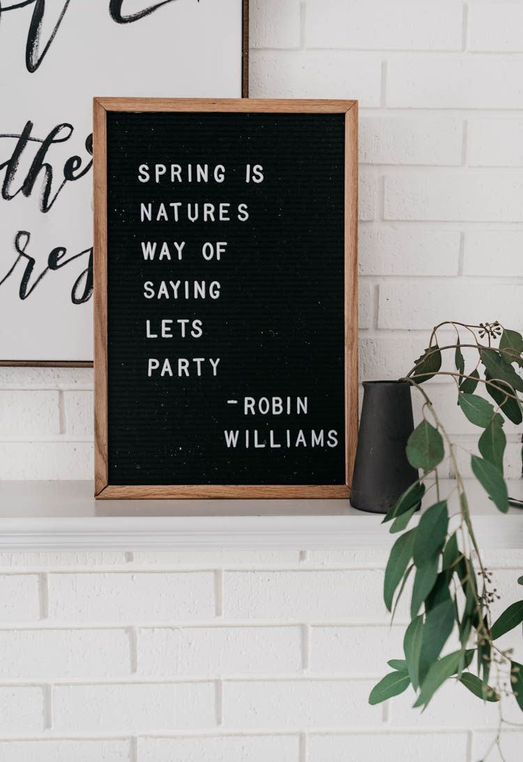 Minimal Spring Mantel Lemon Thistle Spring Quotes Message Board Quotes Letter Board