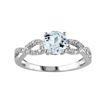 Aquamarine Diamond Accent Infinity Engagement Ring In 10k White Gold Infinity Engagement Ring Gold Infinity Ring Diamond Accent Engagement Rings