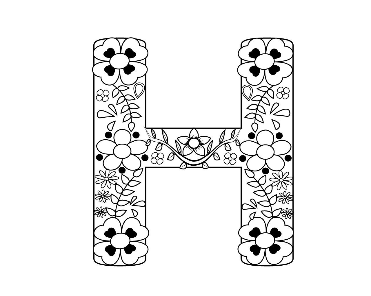 Letter H Coloring Pages For Adults Alphabet Coloring Pages Coloring Pages Love Coloring Pages