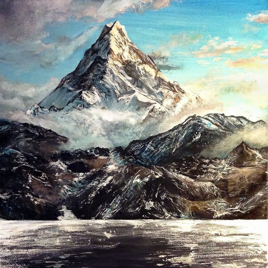 The Lonely Mountain By Kristynjanelle Acrylic Canvas Painting Images, Photos, Reviews