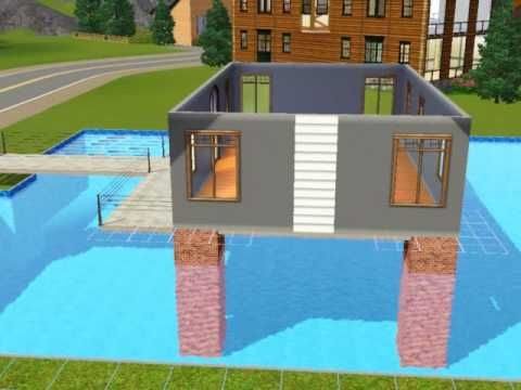 Sims3 Build A House Over Swimming Pool Tutorial Youtube Sims House Sims House Design Sims 4 House Design