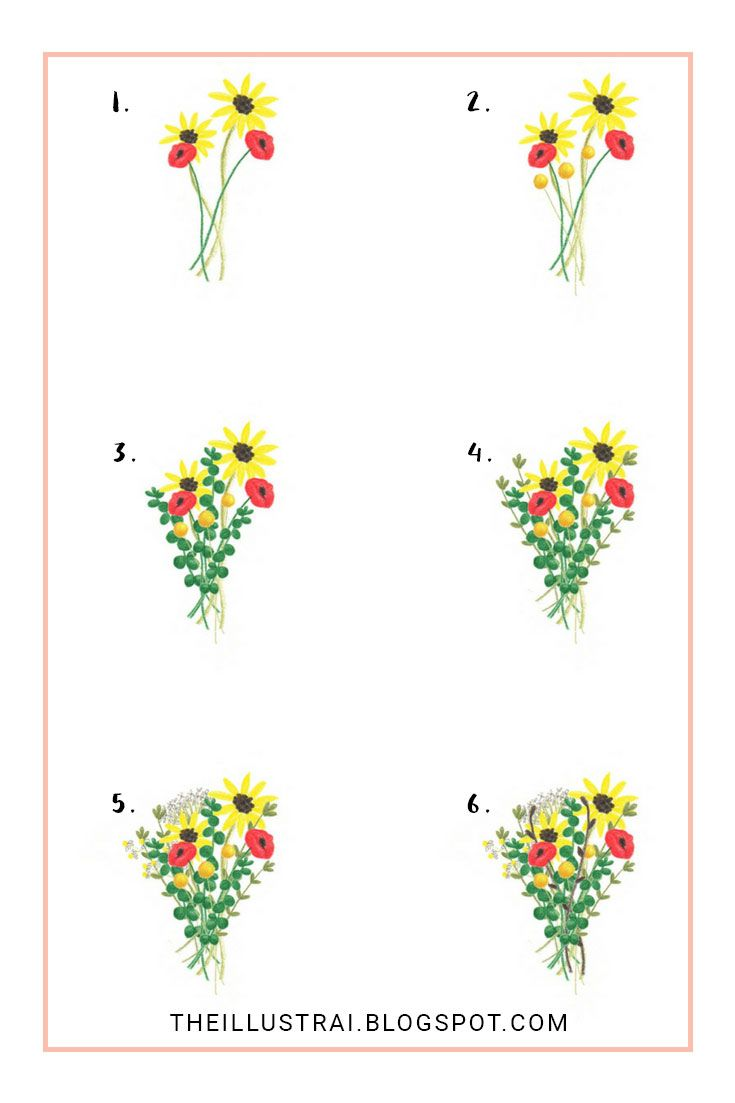 How To Draw An Autumn Flower Bouquet Flower Sketches Flower Art