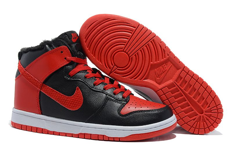 Red Black White Nike Dunk High Mens Shoes Fur Inside Shoes ...