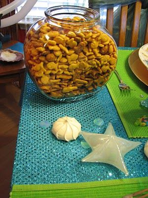goldfish crackers for Little Mermaid birthday party