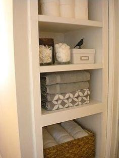 Linen Closet No Door | Simple Trim Design Built In Linen Closet No Doors  More