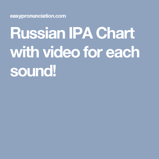 Russian Ipa Chart With Video For Each Sound  Russian